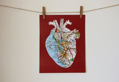 Anatomical Heart Map Art Print  11x14 Poster by GrannyPantyDesigns