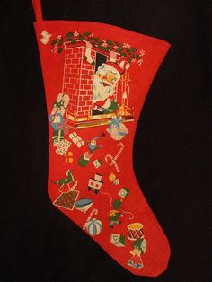 Vintage 1940 stocking...looks like the one I had made of red flannel and decorated with Christmas pictures made from oil cloth during WWII.