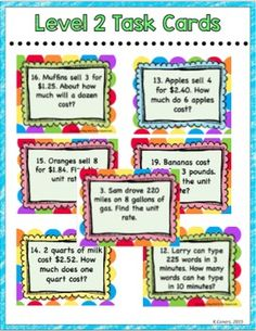 Unit Rates Digital Task Cards by To the Square Inch- Kate Bing Coners Thing 1, Percents, Task Cards, Math Activities, Distance, Back To School, Classroom, Teacher, The Unit