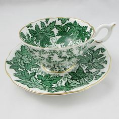 Coalport Green Tea Cup and Saucer, Green Leaves, Vintage Bone China
