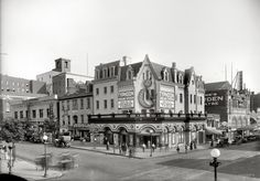 """Washington movie houses circa 1918. """"Crandall's Theater, 9th & E Streets N.W."""" Now playing: Madge Kennedy and Tom Moore in """"The Kingdom of Youth."""" National Photo Company Collection glass negative."""