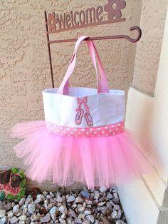 Pink Ballet Tutu Bag with Ballet Slippers - Tutu Bag - Ballet Tote - Dance Bag on Etsy, $25.00....I am sooo making this
