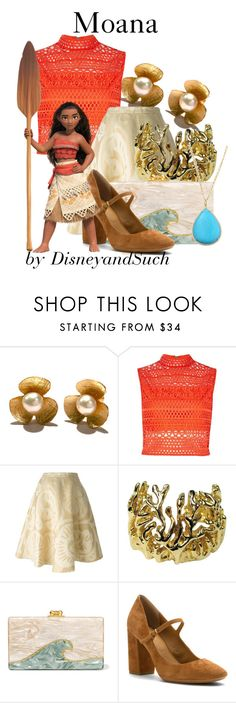 """""""Moana"""" by disneyandsuch ❤ liked on Polyvore featuring River Island, Société Anonyme, Robert Lee Morris, Edie Parker, Calvin Klein, Irene Neuwirth, disney, disneybound, moana and WhereIsMySuperSuit"""