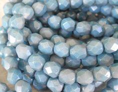 25 6mm Opaque Light Blue Denim Luster beads by GloriousGlassBeads