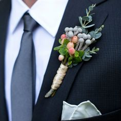 Gray Berry Boutonniere