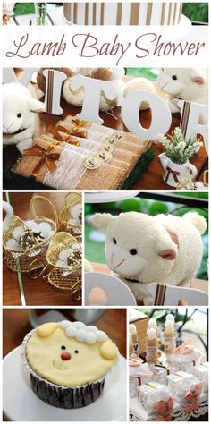 A lovely rustic lamb themed baby shower with burlap decorations and candy favors! See more party planning ideas at CatchMyParty.com!