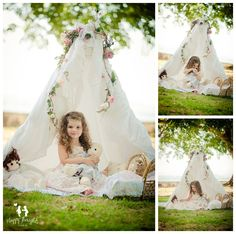 Girl playing with dolls in outdoors tent Children Photography idea