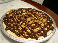 National Soyfood Month - Recipe #5 - Vegan peanut butter pie with chocolate and pretzel topping