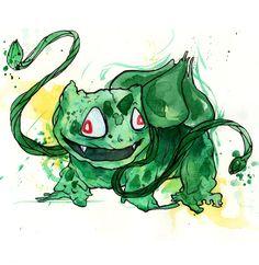 weird bulbasaur illustration by glönn. catch pokémon on paper instead of pokémon Go