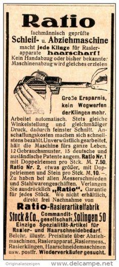 Original-Werbung/Anzeige 1916 - RATIO SCHLEIF- UND ABZIEH-MASCHINE /RASIERARTIKEL- FABRIK STOCK SOLINGEN ca. 45 x 100 mm