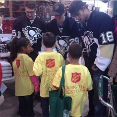 Tanner Glass, Marc-Andre Fleury and Brandon Sutter take kids shopping for winter clothes for Project Bundle Up. 11.11.13