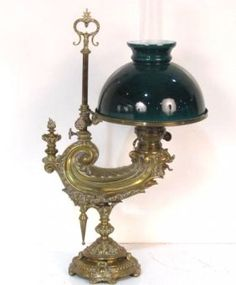 19th C. French Bronze Student Oil Lamp