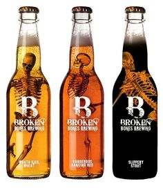 package / Broken Bones Brewery. Interesting designed bottles.