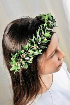 Wianek komunijny Ikebana, Communion, Wedding Flowers, Wreaths, Crown, Corona, Door Wreaths, Deco Mesh Wreaths, Crowns