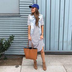 striped dress with denim vest | merricksart.com