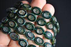 Sam's Bead Shop: Czech Glass Ovals, Emerald w/ Picasso - 13x10mm - 5-pc Set #beads #czechglass #beading #jewelrymaking #diyjewelry #diyjewelrymaking #jewelrydesign #handmade #diy #accessories #samsbeadshop
