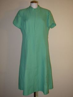 Vintage 60's/70's FRED ROTHSCHILD Mod Scooter Mint Green Polyester Midi Dress  #FredRothschild