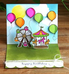 lawn fawn admit one stamps & dies - ferris wheel & ballons & merry go round amusements park card fun!!
