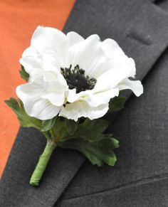 White+Anemone+Flower   Wedding Flowers, White silk anemone with black center boutonniere.
