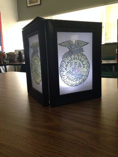 Easy banquet decoration- four frames, velum paper and touch light makes an interesting and easy FFA banquet decoration [Bandys FFA, NC]
