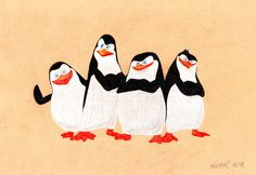 The Penguins of Madagascar by oliveoel on DeviantArt Dreamworks Movies, Dreamworks Animation, Madagascar Movie, Movie Poster Art, Embroidery Patterns Free, Disney Pixar, Cartoon Characters, Drawings, Rapunzel