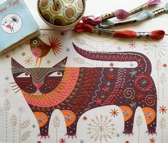 Create your own folkloric cat with this embroidery kit.