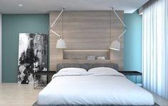 couleur de peinture pour chambre bleu ciel, panneau mural en bois massif, lit bas design, tableau noir et blanc et parquet contrecollé