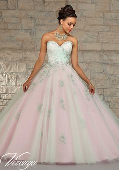 Quinceanera dresses by Vizcaya Layered Tulle with Embroidery and Beading. Matching Bolero. Available in Champagne/Bubble, Mint/Bubble
