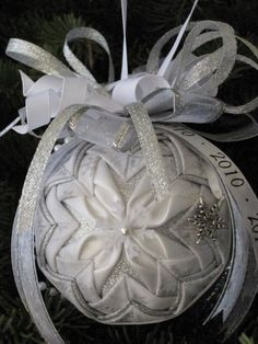 Snowflake Wedding Or Anniversary White And Silver Quilted Christmas Ornament Made To Order On Etsy