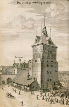rycina: Wieża Więzienna i Katownia przebudowane przez Hansa Strakowskiego, Der Stadt Dantzigk, 1687 źródło: gedanopedia.pl WIEŻA WIĘZIENNA. Budowę zainicjowano w latach 1379–1382. Wieża początkowo pełniła funkcję ufortyfikowanego przedbramia, zamykającego drogę do Bramy Długoulicznej (fortyfikacje). Przebudowana w początku XVI wieku; w jego 2. połowie, po rozbudowaniu ziemnych fortyfikacji i przesunięciu głównie ich linii na wysokości Bramy Wyżynnej, Wieża Więzienna utraciła funkcje obronne…