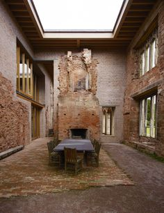 concrete castle: a case of accidental genius? The dining room of the restored Astley Castle, Warwickshire.The dining room of the restored Astley Castle, Warwickshire. Casa Patio, Castles In England, Interior And Exterior, Interior Design, Architecture Old, Minimalist Architecture, Futuristic Architecture, Brick And Stone, Restoration