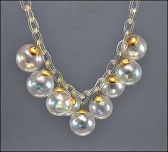 Art Deco Necklace Celluloid Iridescent Glass Ball by boylerpf, $115.00