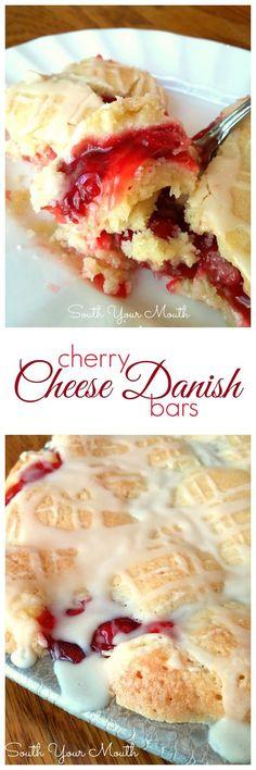 Cherry Cheese Danish Bars! Tender butter crumb bars with cherries and cream cheese in the middle. SO GOOD!: Crumb Bars, Cake, Danish Bars, Tender Butter, Cherry Cream Cheese Bars, Cheese Danish, Cream Cheeses