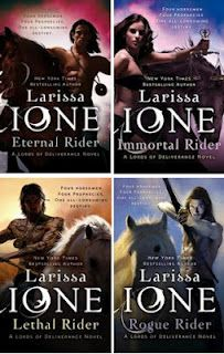 Lords of Deliverance by Larissa Ione the four horsemen so good.  Can't wait until Rogue Rider comes out.