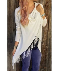 Charming Solid Color Tassel Hem Asymmetric Loose T-Shirt For Women