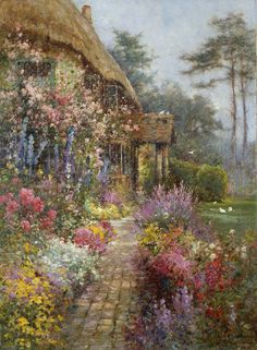 art-and-dream: Art painting wonderful style by Alfred de Breanski, - love these old country cottage paintings. Garden Painting, Garden Art, Painting & Drawing, Images Vintage, Storybook Cottage, Garden Cottage, Cottage Homes, Dream Art, Paintings I Love