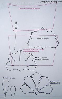 Петуния выкройка - MAGIC-COLORING | Petunia flower template