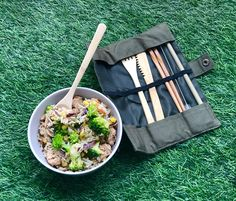 Enjoy your mail with a reusable bamboo cutlery set!   The bamboo is locally grown near the factory and sustainably sourced with care. Unlike heavy, noisy steel cutlery sets, the bamboo utensils weigh less than 90 grams and are easy to carry on the go with an organic canvas case.  Photo by @rhythm_of_yoga in Instagram Cutlery Set, Chopsticks, Fast Growing, Brush Cleaner, Safe Food, Utensils, Bamboo, Lunch, Organic