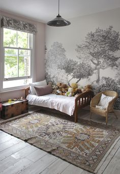 5 Design Tips for Your Dream Living Room – Voyage Afield Tree Wallpaper Bedroom, Antique Dining Rooms, Japanese Bedroom, Japanese Inspired Bedroom, Bathroom Tile Designs, Theme Color, Home Living Room, Room Decor, House Design