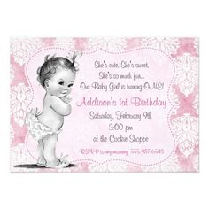 24 Best Baby S First Birthday Invitations Images On Pinterest 1st