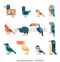 Vector bird illustrations set. Different birds species like: duck, pigeon, sparrow, owl, cardinal bird, kiwi, toucan, parrot, crow, pelican, tit, penguin. Simple geometric form and four colors used.