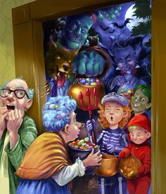 Trick or Treat.  #illustration #spooky #digital#fantasy #children #character #design #best #modelsheet #conceptart #concept #art #anatomy #winteriscoming #poster #drawing #traditional #tradition #child #festive #holiday #storybook #novel #picturebook #fairytale #fairy #goblin #gnomes #unicorn #dreamer #believe #true #friendships #friends #stargazers #holidays #festive #witches #monsters #frankenstein #dracula #ghost #bat #spiders #horror #halloween #pumpkin #elderly #sweets #children