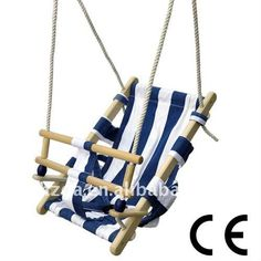 blue fabric baby swing