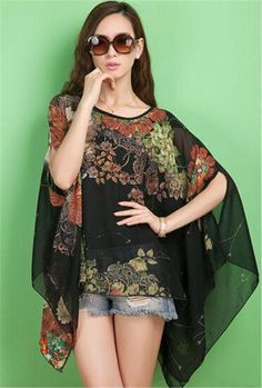 Beautiful Metro Casual O-Neck Floral Loose Chiffon Batwing Sleeve Blouse 2 Styles Various Colors