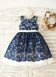 [NZ$ 105.43] A-Line/Princess Knee-length Flower Girl Dress - Lace Sleeveless Scoop Neck With Lace/Rhinestone