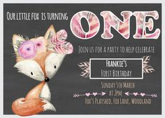 Fox Woodland Birthday Invitation First Birthday Fox Tribal