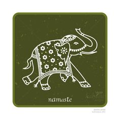 A colourful, bold poster design featuring a highly decorated Indian elephant with the greeting namaste written below it. Artwork is 9 x 9 and