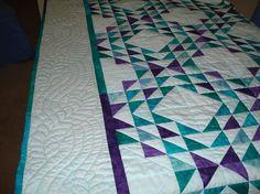 Patchwork Quilt Ocean Waves in Aqua, Jade, Teal, Purple Batik Made for You. , via Etsy.