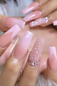 50 Pretty and sweet light pink nail designs ideas that make you look like princess Acrylic Nails Coffin Pink, Coffin Nails Long, Summer Acrylic Nails, Pink Coffin, Spring Nails, Pink Tip Nails, Cute Pink Nails, Light Pink Nails, Baby Pink Nails With Glitter