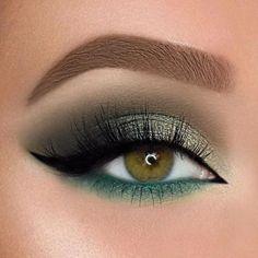 Beautiful eye make-up - eye shadow, gold eye make-up, eye make-up for . - Beautiful Eye Makeup – Eye Shadow, Gold Eye Makeup, Eye Makeup for … – Makeup Ideas – - Gold Eye Makeup, Green Makeup, Glam Makeup, Eyeshadow Makeup, Makeup Brushes, Smokey Eye Makeup, Eyeshadow Palette, Green Smokey Eye, Makeup Remover